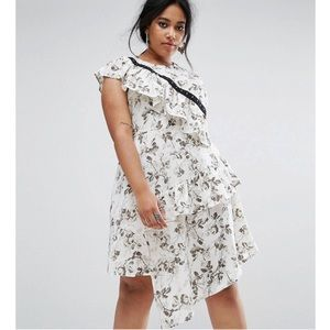 Floral chiffon dress with hook&eye detail